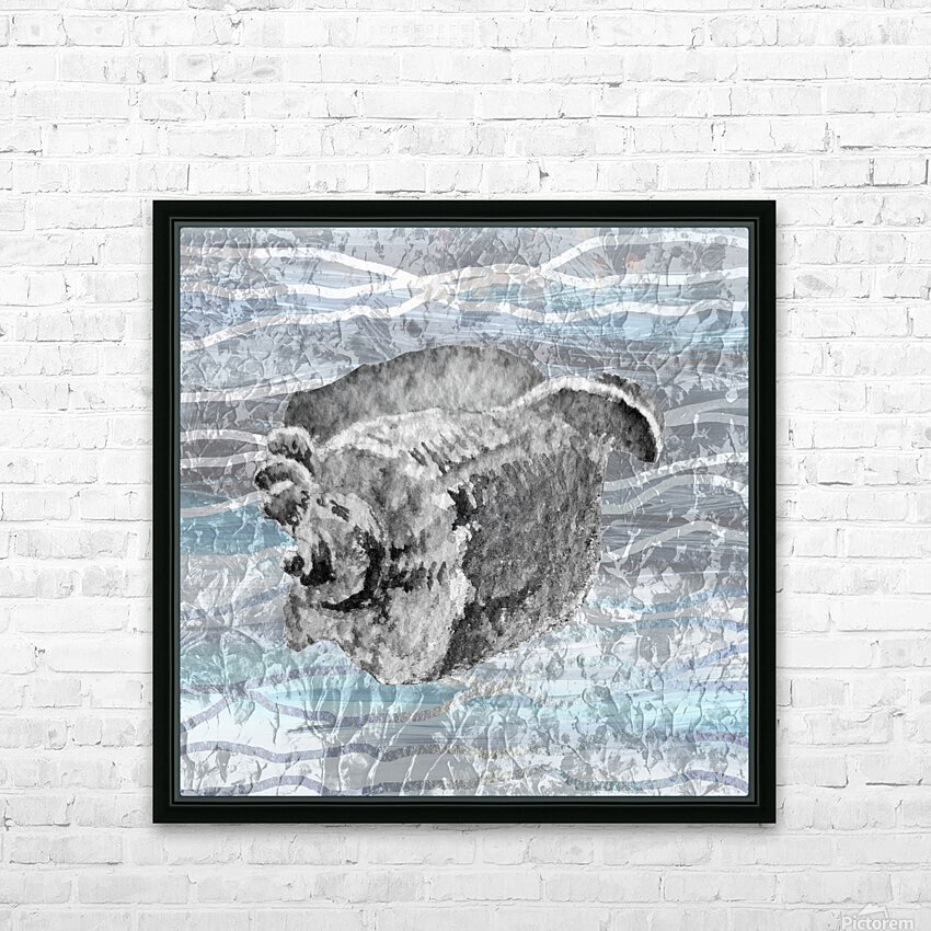 Silver Gray Seashell On Ocean Shore Waves And Rocks I HD Sublimation Metal print with Decorating Float Frame (BOX)