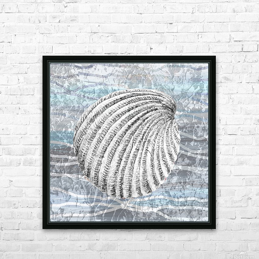 Silver Gray Seashell On Ocean Shore Waves And Rocks II HD Sublimation Metal print with Decorating Float Frame (BOX)