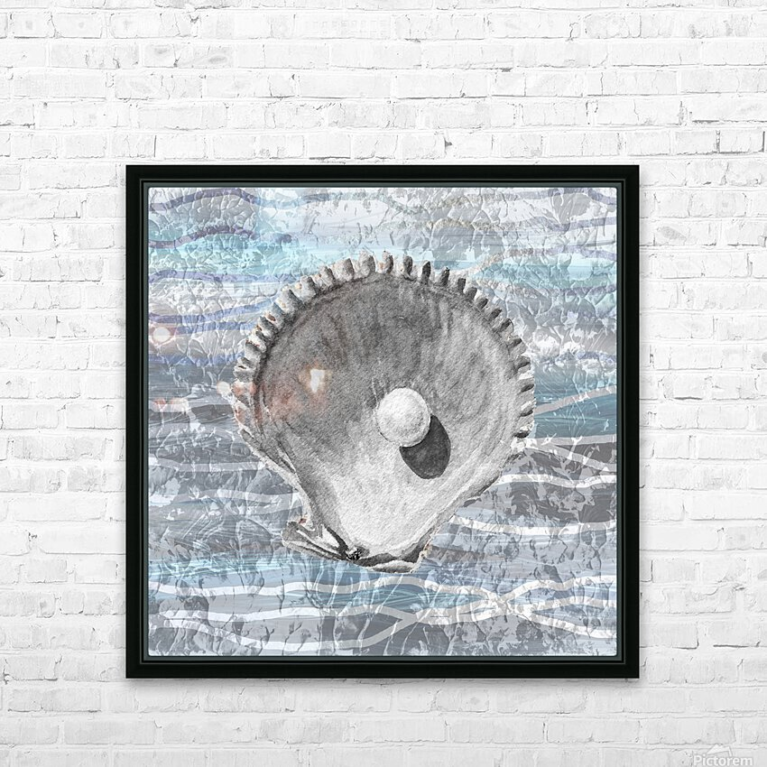 Silver Gray Seashell On Ocean Shore Waves And Rocks IV HD Sublimation Metal print with Decorating Float Frame (BOX)
