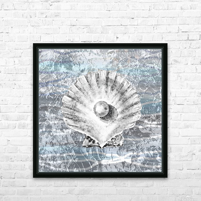 Silver Gray Seashell On Ocean Shore Waves And Rocks V HD Sublimation Metal print with Decorating Float Frame (BOX)