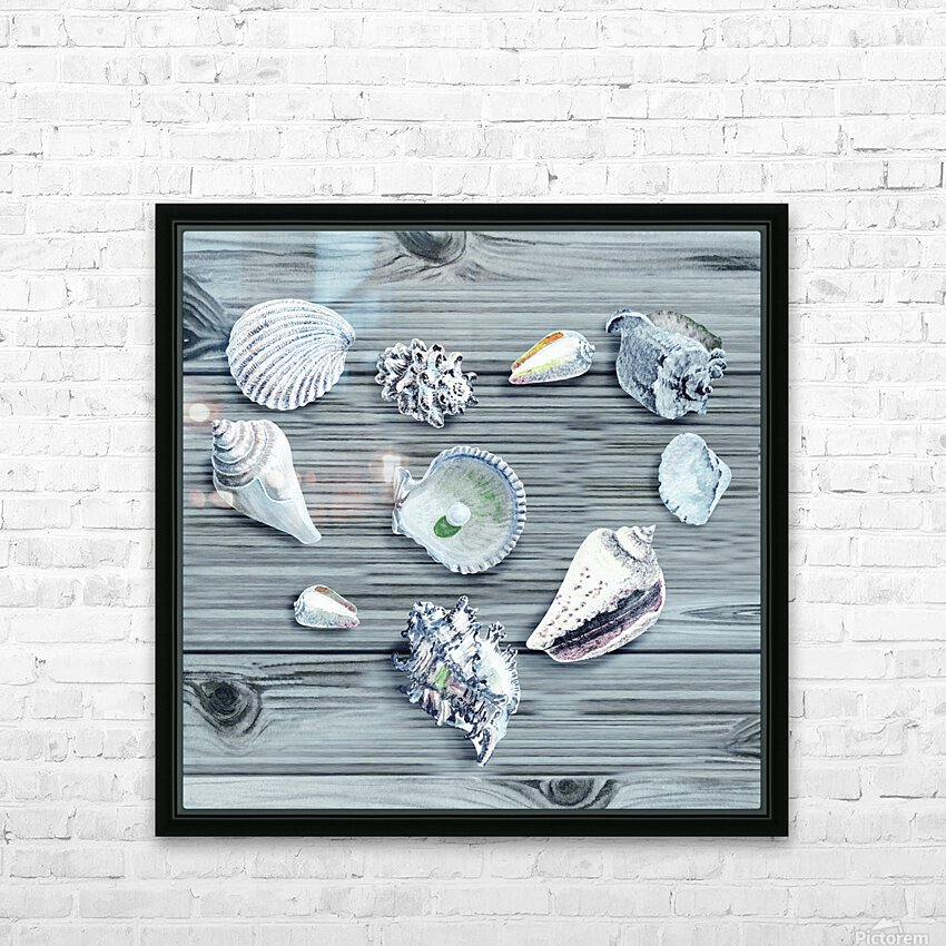 Silver Gray Seashells Heart On Ocean Shore Wooden Deck Beach House Art  HD Sublimation Metal print with Decorating Float Frame (BOX)
