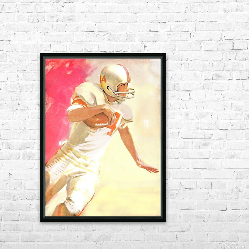 1963 Running Back Vintage Gridiron Wall Art HD Sublimation Metal print with Decorating Float Frame (BOX)