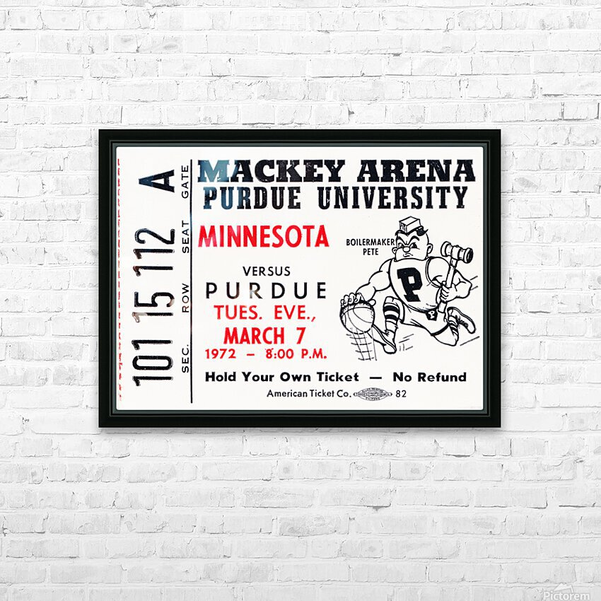 1972 Purdue Basketball Ticket Canvas HD Sublimation Metal print with Decorating Float Frame (BOX)