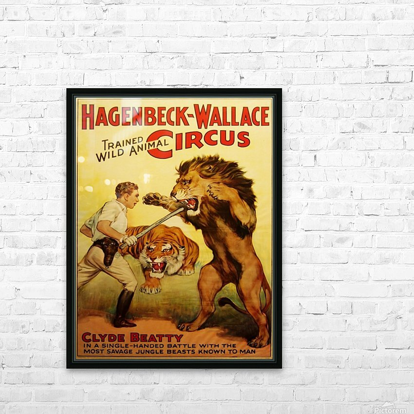 Vintage Circus Poster, Lion Tamer Poster HD Sublimation Metal print with Decorating Float Frame (BOX)