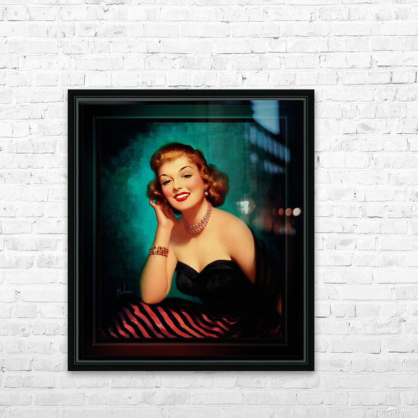 Evening Glamour Girl by Art Frahm Glamour Pin-up Vintage Art HD Sublimation Metal print with Decorating Float Frame (BOX)