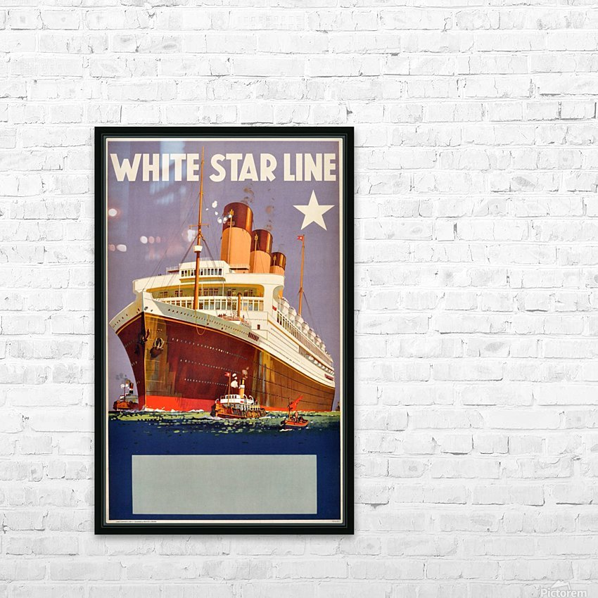 Original Vintage 1920 Travel Advertising Poster For White Star Line Cruises HD Sublimation Metal print with Decorating Float Frame (BOX)