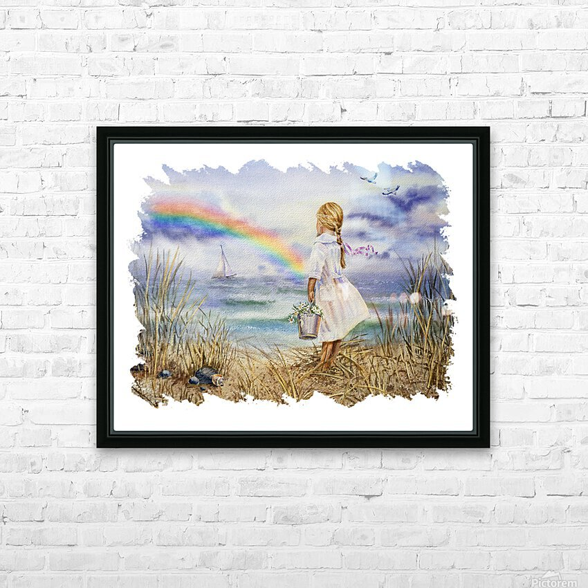 Girl Ocean Rainbow Boat And Birds Beach House Style Art HD Sublimation Metal print with Decorating Float Frame (BOX)
