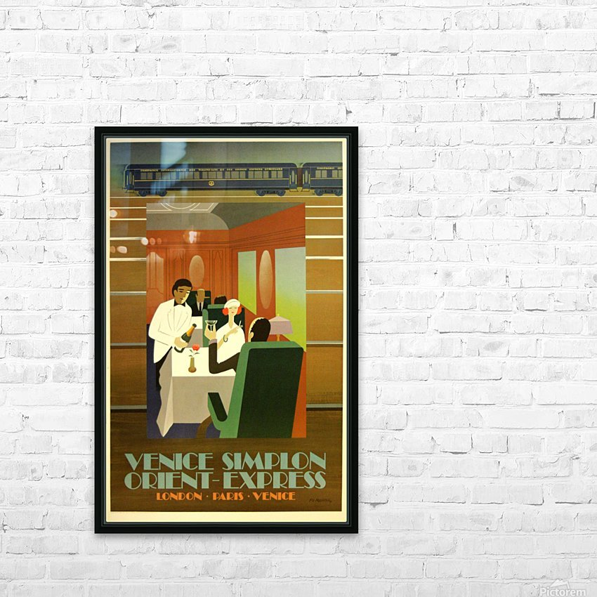 Travel Art Deco Style Poster - Venice Simplon Orient Express Railway HD Sublimation Metal print with Decorating Float Frame (BOX)