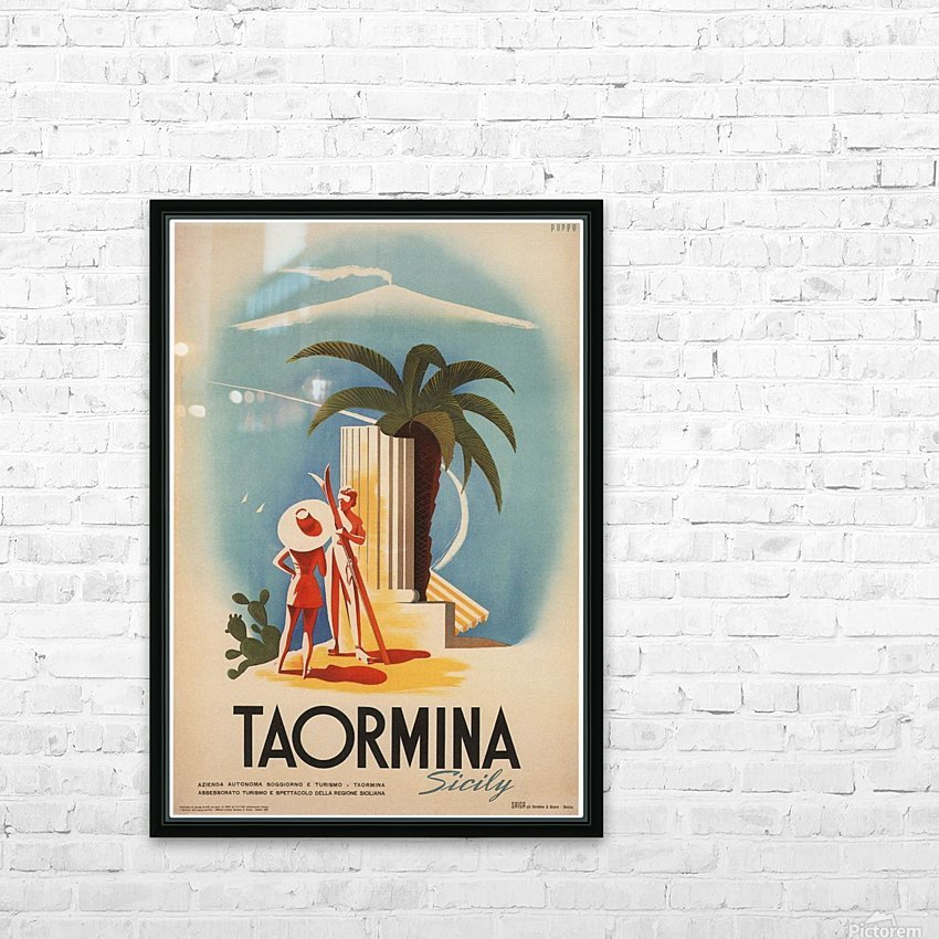 Taormina, Sicily Vintage Italian Travel Print HD Sublimation Metal print with Decorating Float Frame (BOX)