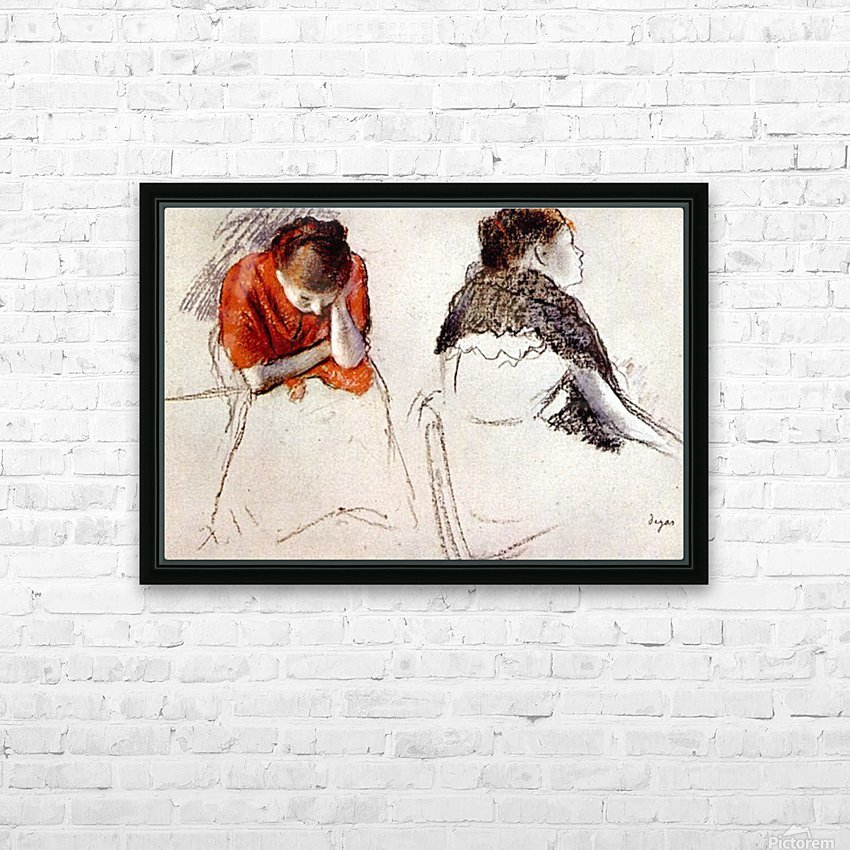 Two women seated by Degas HD Sublimation Metal print with Decorating Float Frame (BOX)