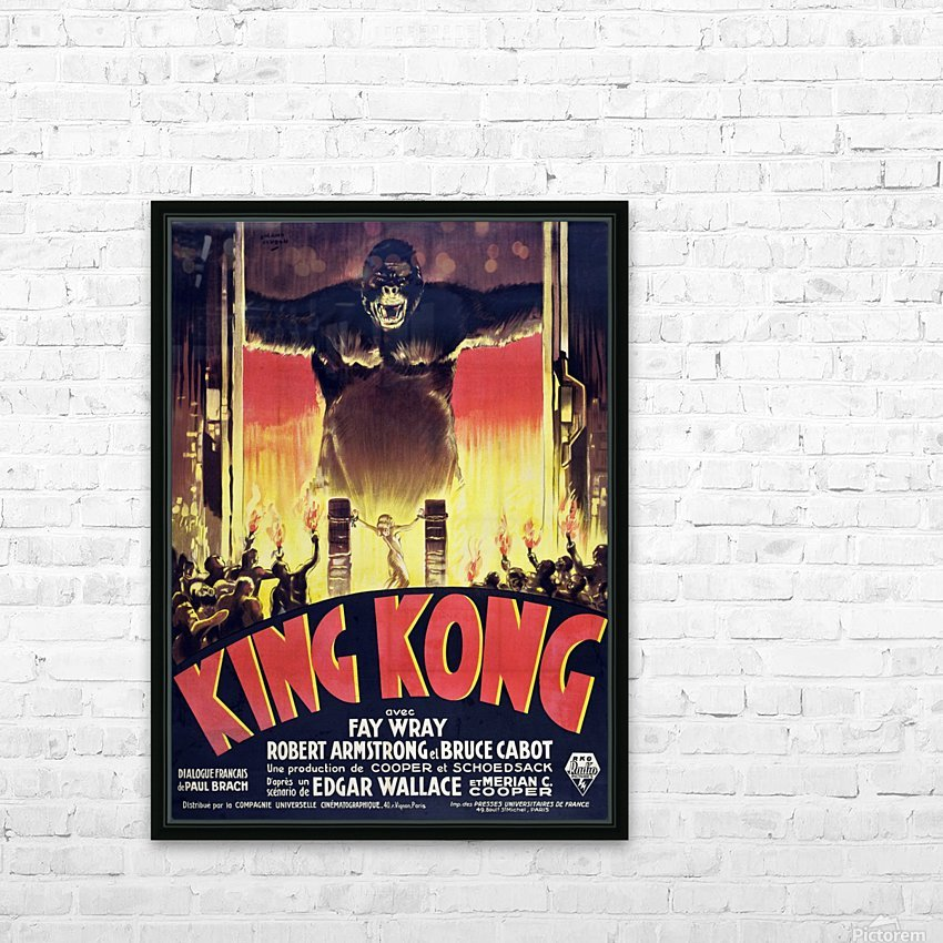 King Kong Vintage Poster HD Sublimation Metal print with Decorating Float Frame (BOX)