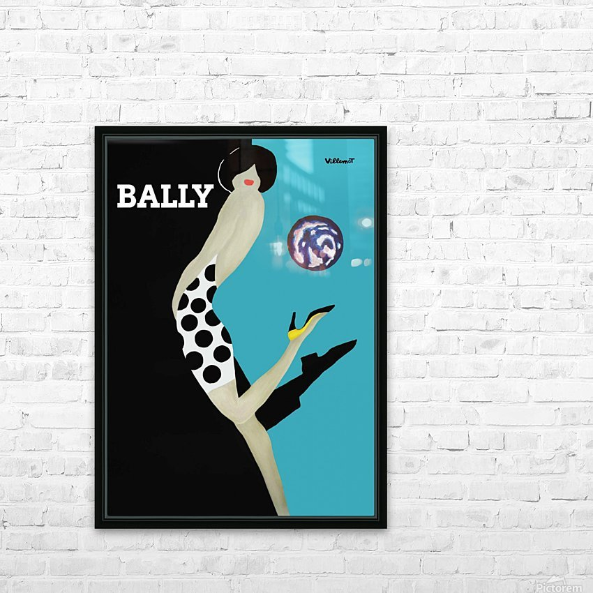 Vintage Bally Poster Giclee Print Aqua Blue HD Sublimation Metal print with Decorating Float Frame (BOX)