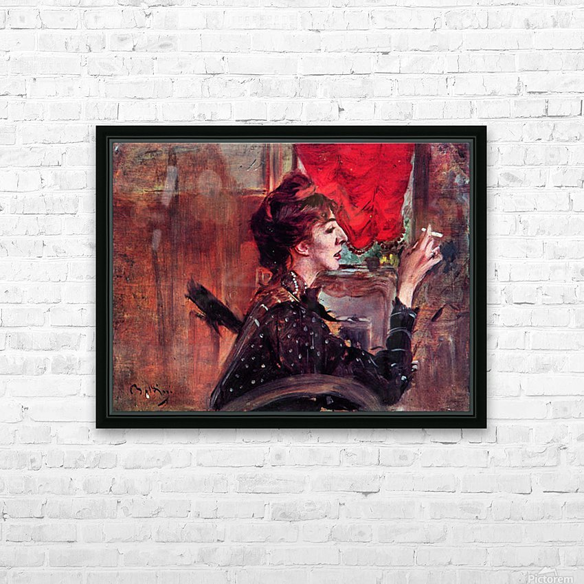 The red curtain by Giovanni Boldini HD Sublimation Metal print with Decorating Float Frame (BOX)