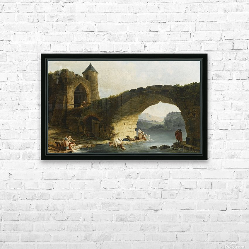 A Capriccio River Landscape With Washerwomen Near a Ruined Bridge HD Sublimation Metal print with Decorating Float Frame (BOX)