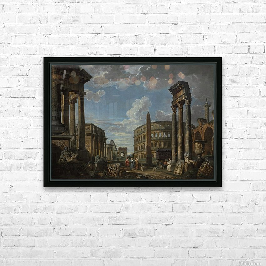 An architectural capriccio with figures among Roman ruins HD Sublimation Metal print with Decorating Float Frame (BOX)