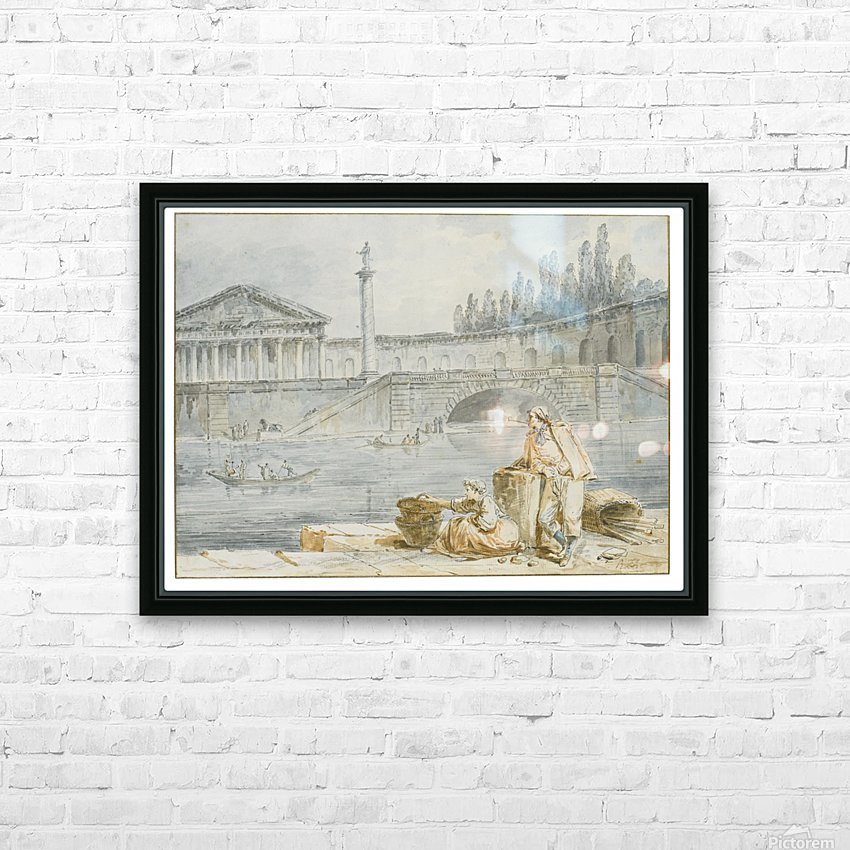 A man smoking a pipe and a woman with baskets looking out at rowing boats HD Sublimation Metal print with Decorating Float Frame (BOX)