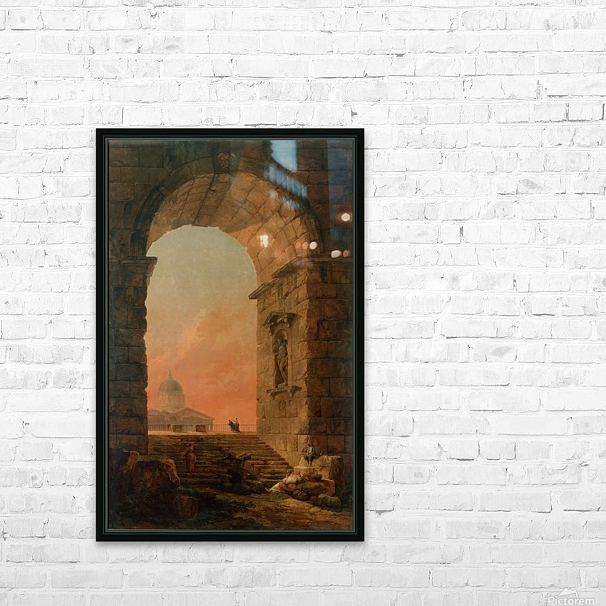 Landscape with an Arch and The Dome of Saint Peter Church in Rome HD Sublimation Metal print with Decorating Float Frame (BOX)