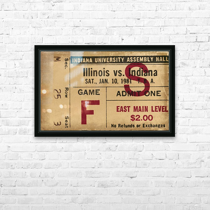 1981 Indiana vs. Illinois Basketball Ticket Art HD Sublimation Metal print with Decorating Float Frame (BOX)