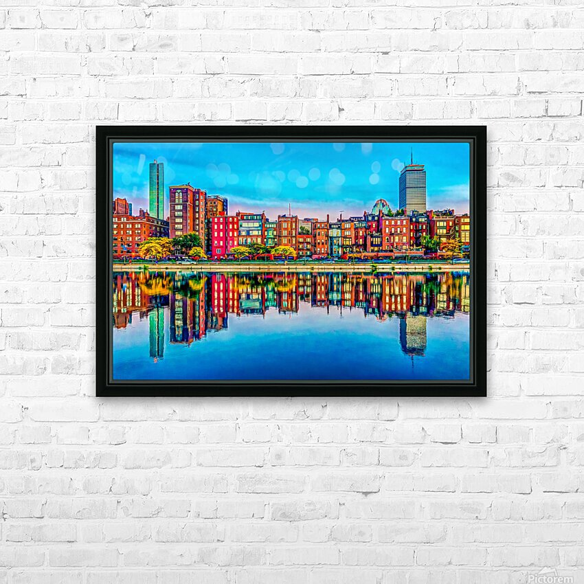 Boston Back Bay reflection HD Sublimation Metal print with Decorating Float Frame (BOX)