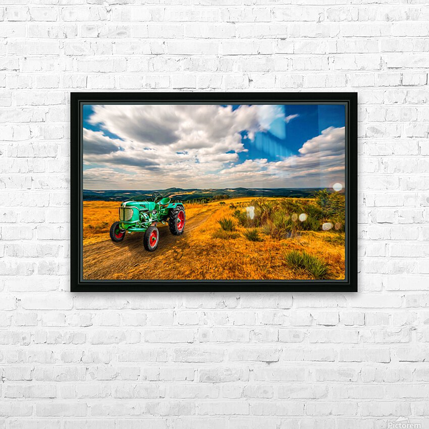 My Green Tractor HD Sublimation Metal print with Decorating Float Frame (BOX)