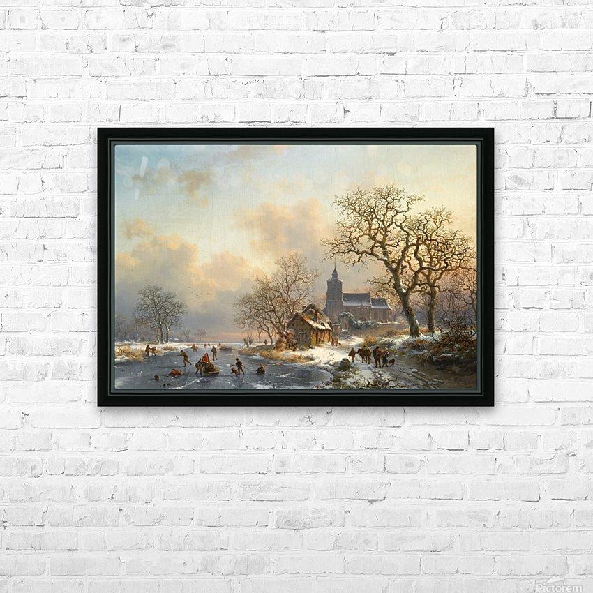 Een winterlandschap met schaatsers op een bevroren rivier HD Sublimation Metal print with Decorating Float Frame (BOX)