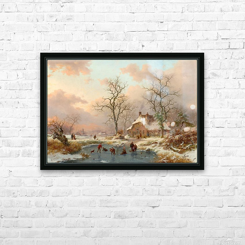 Winter landscape with figures on the frozen lake HD Sublimation Metal print with Decorating Float Frame (BOX)