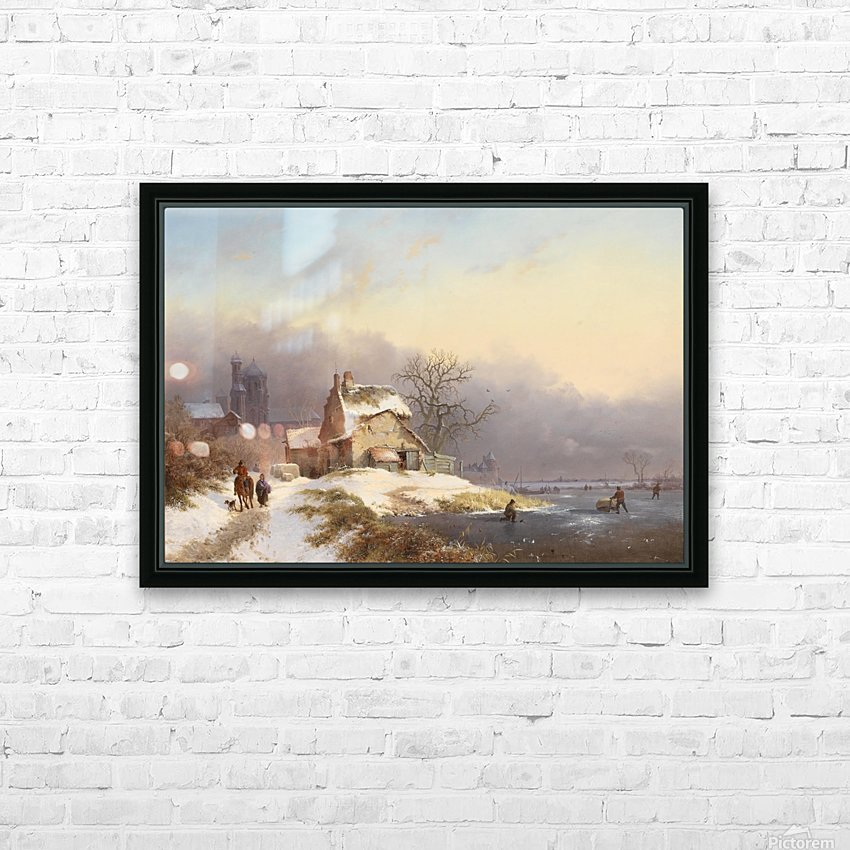 Winter landscape with figures near lake and church in background HD Sublimation Metal print with Decorating Float Frame (BOX)