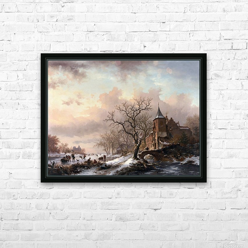 Castle in a Winter Landscape and Skaters on a Fozen River HD Sublimation Metal print with Decorating Float Frame (BOX)