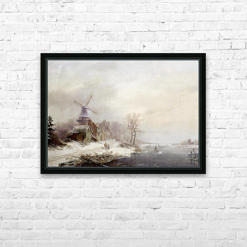 Winter landschap met gehucht, windmolen en figuren HD Sublimation Metal print with Decorating Float Frame (BOX)