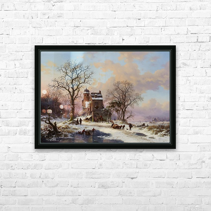 A Dutch Winter Landscape HD Sublimation Metal print with Decorating Float Frame (BOX)