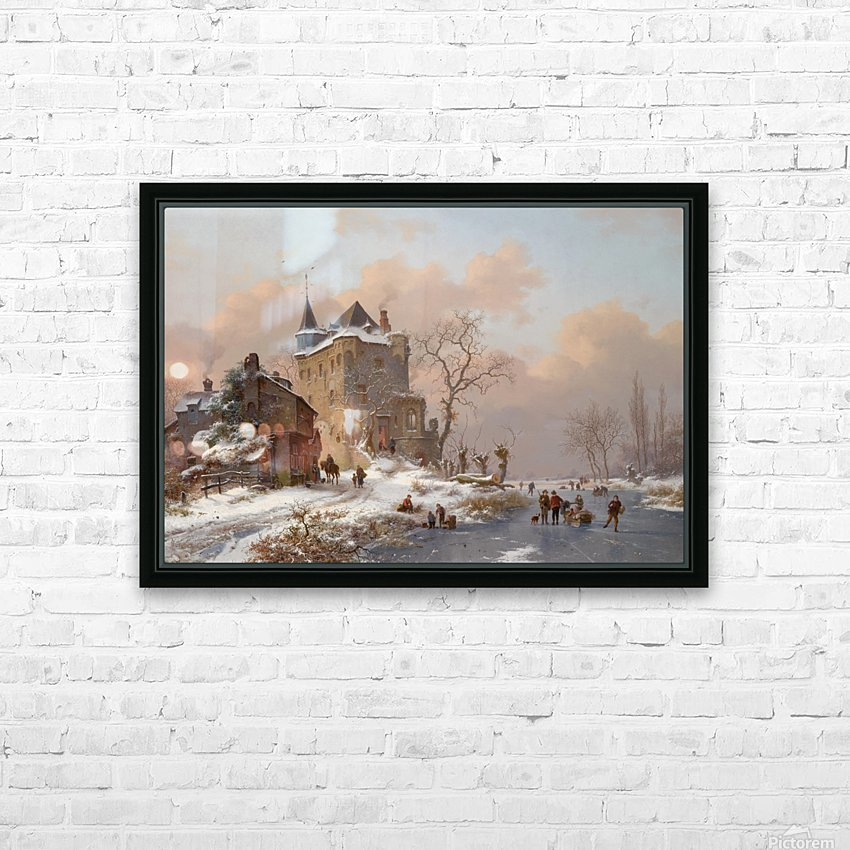 Skaters near a castle on a wintry day HD Sublimation Metal print with Decorating Float Frame (BOX)