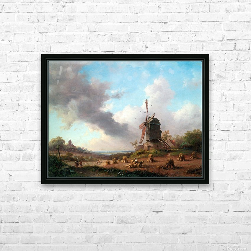 Summer Landscape with Harvesting Farmers HD Sublimation Metal print with Decorating Float Frame (BOX)