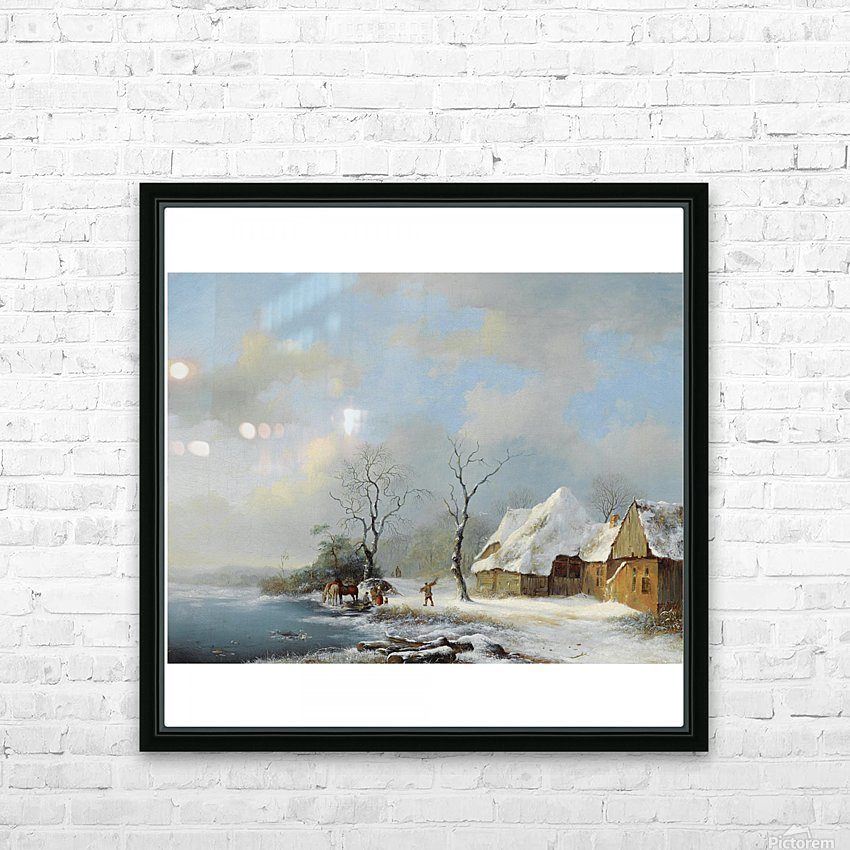 Wood Gatherers in a Snowy Landscape HD Sublimation Metal print with Decorating Float Frame (BOX)