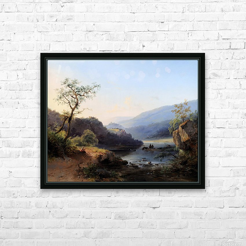 Landscape with lake and figures HD Sublimation Metal print with Decorating Float Frame (BOX)