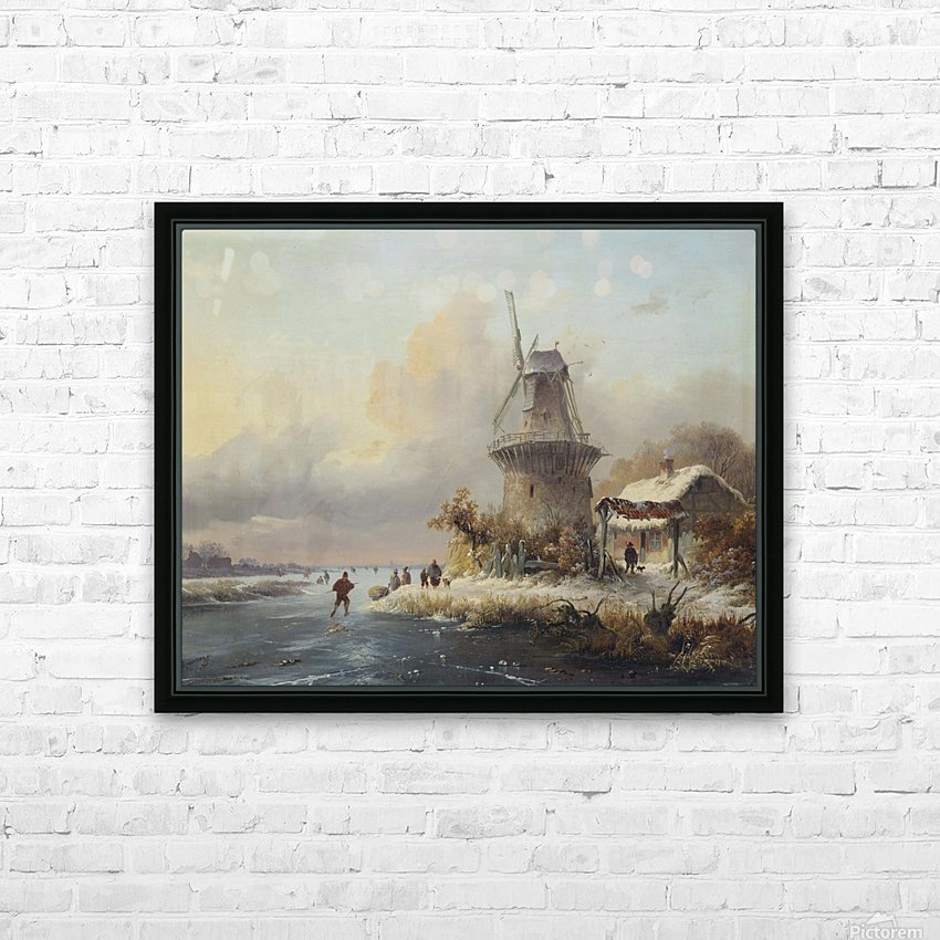 Skaters by a windmill HD Sublimation Metal print with Decorating Float Frame (BOX)