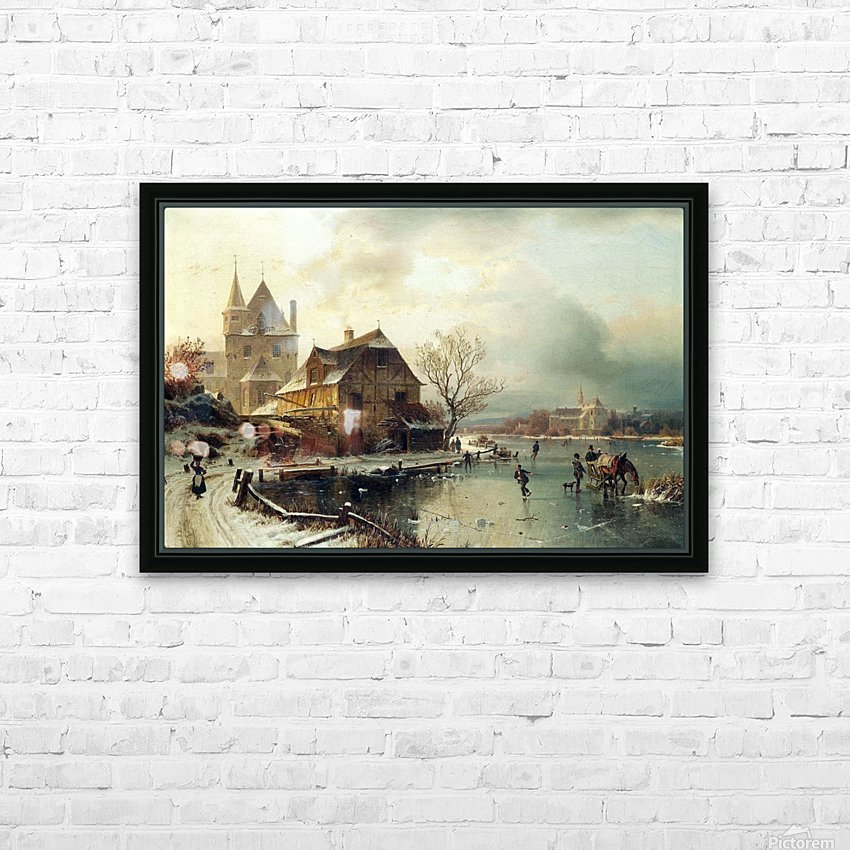 Dutch winter landscape with skaters HD Sublimation Metal print with Decorating Float Frame (BOX)