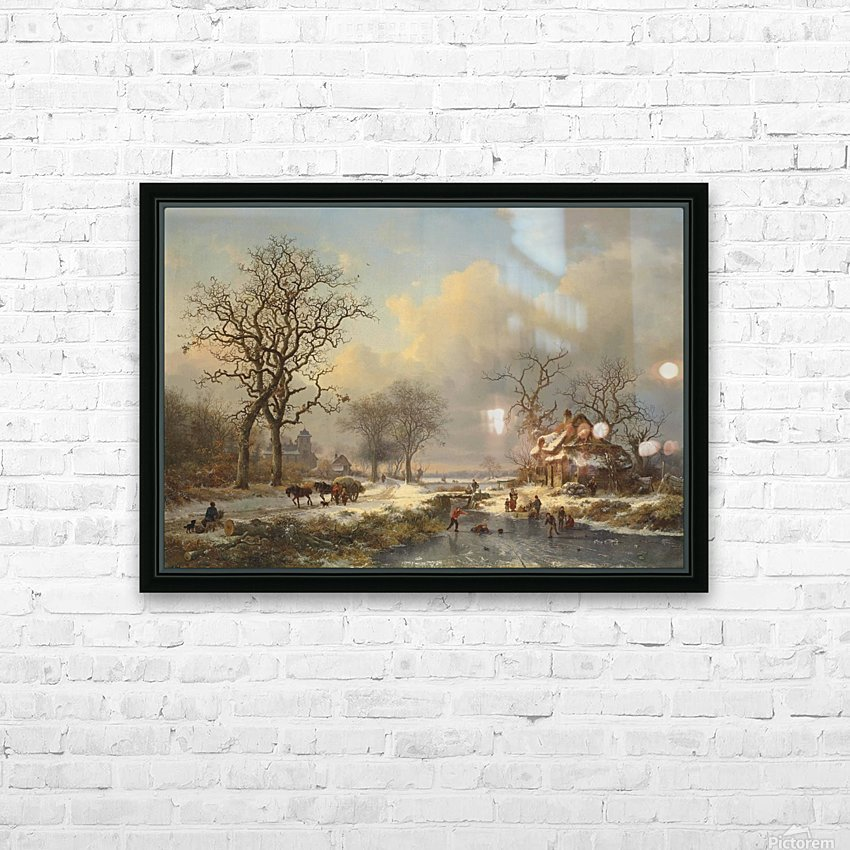 Winter landscape with children playing on the ice HD Sublimation Metal print with Decorating Float Frame (BOX)