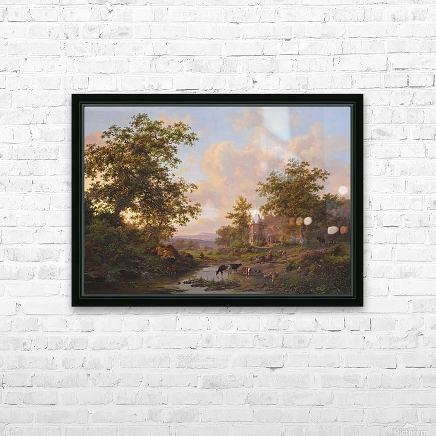 A sunlit river landscape with shepherds resting near a stream HD Sublimation Metal print with Decorating Float Frame (BOX)