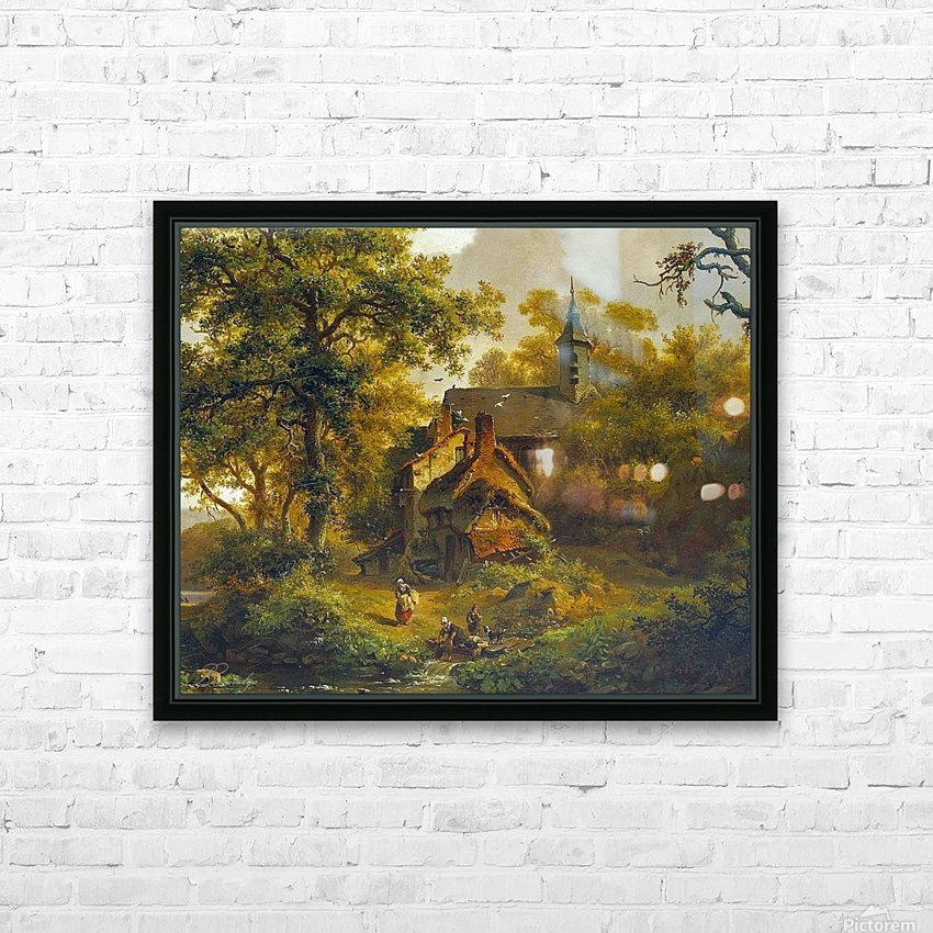 Tranquil landscape with women washing by a stream with cattle and sheep resting HD Sublimation Metal print with Decorating Float Frame (BOX)