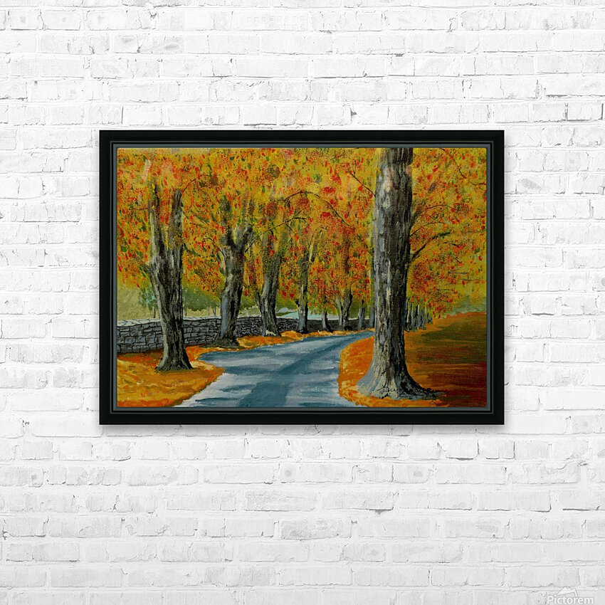 Autumns Pathway HD Sublimation Metal print with Decorating Float Frame (BOX)