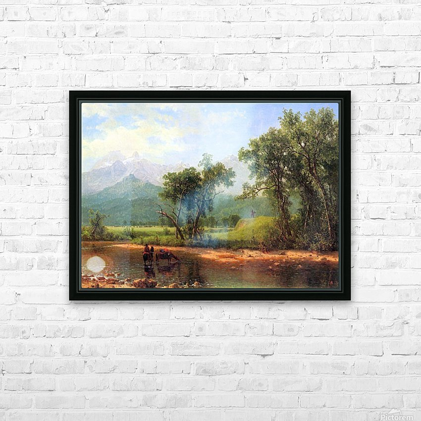 Wind River Mountains, landscape in Wyoming by Bierstadt HD Sublimation Metal print with Decorating Float Frame (BOX)