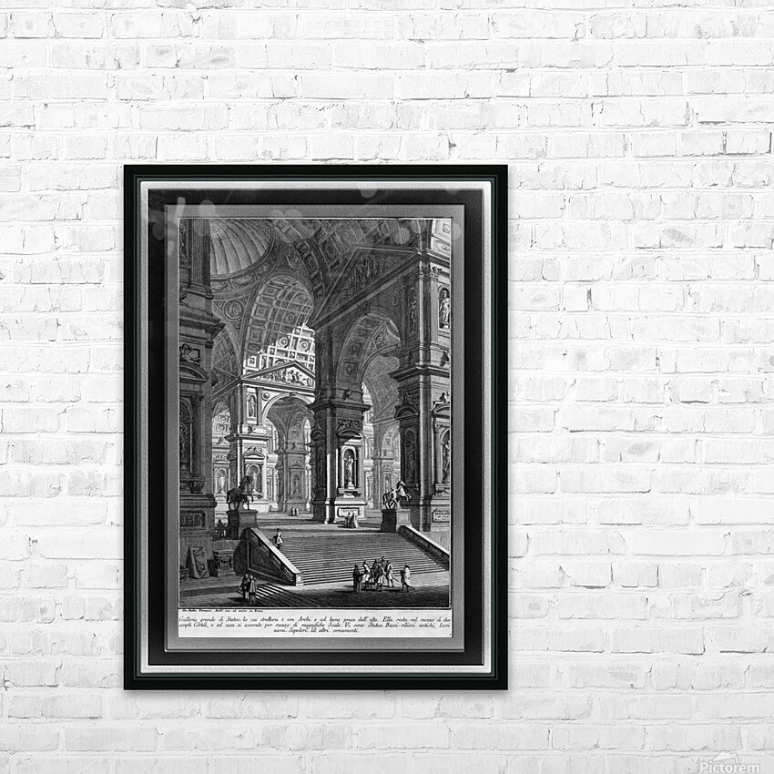 Large Sculpture Gallery Built On Arches by Giovanni Battista Piranesi Classical Fine Art Xzendor7 Old Masters Reproductions HD Sublimation Metal print with Decorating Float Frame (BOX)