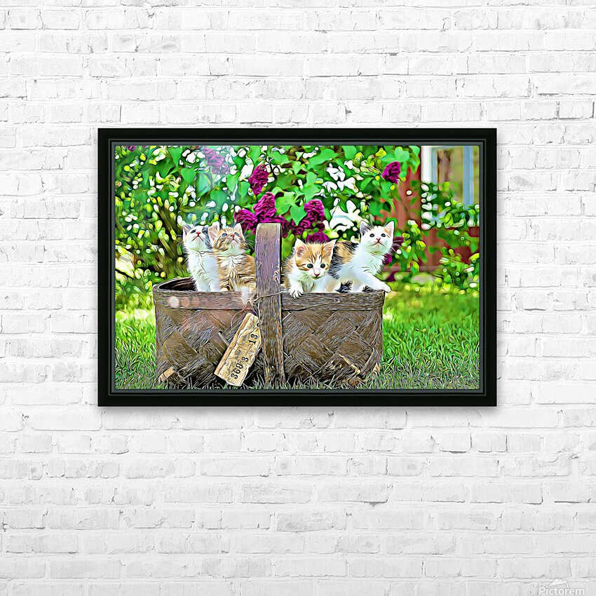 Basket of Kittens HD Sublimation Metal print with Decorating Float Frame (BOX)