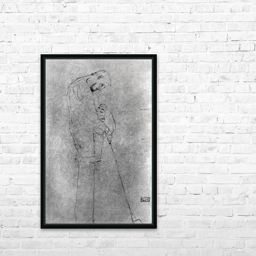 Woman and man standing in profile by Klimt HD Sublimation Metal print with Decorating Float Frame (BOX)