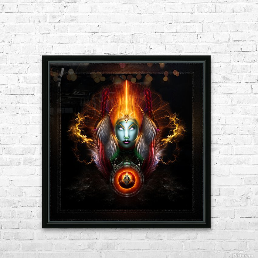 Riddian Queen Dynasty Of Power On Black Fractal Art Fantasy Portrait HD Sublimation Metal print with Decorating Float Frame (BOX)