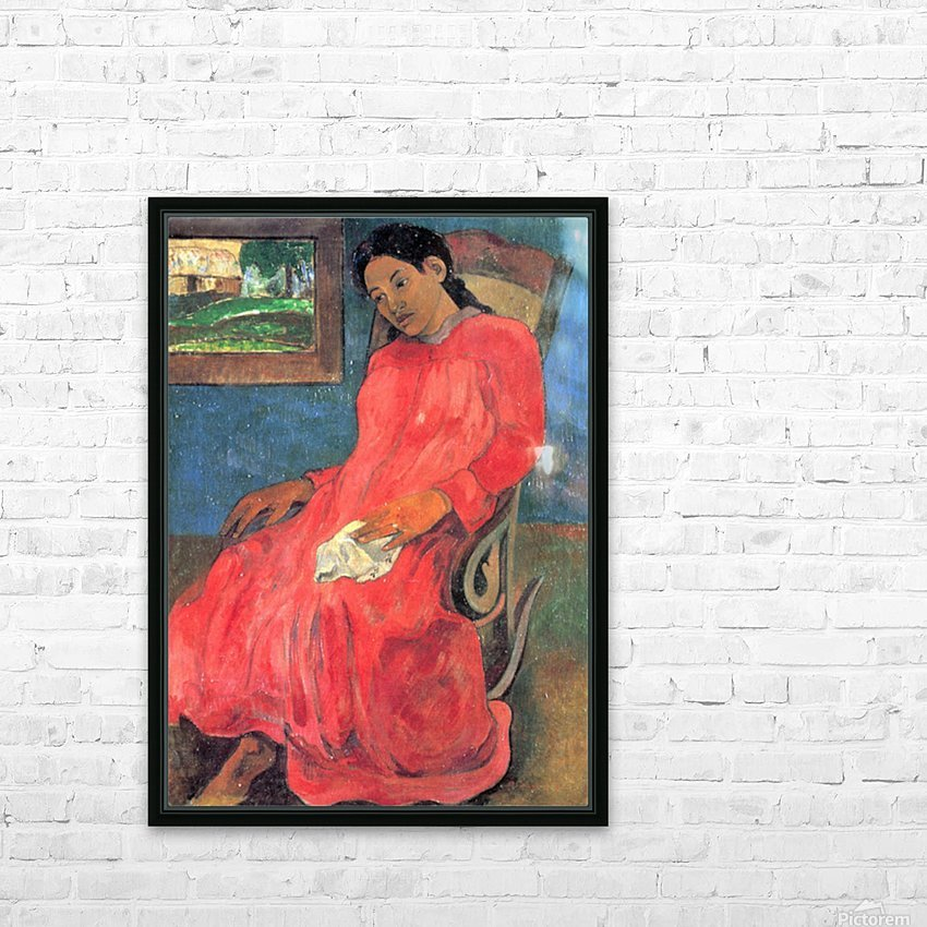 Woman in Red Dress by Gauguin HD Sublimation Metal print with Decorating Float Frame (BOX)