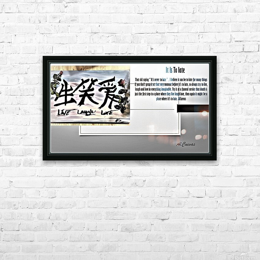 16.IT IS TO LATE  3  HD Sublimation Metal print with Decorating Float Frame (BOX)