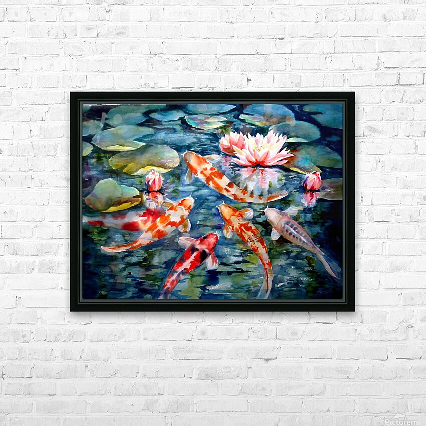 Koi Pond HD Sublimation Metal print with Decorating Float Frame (BOX)