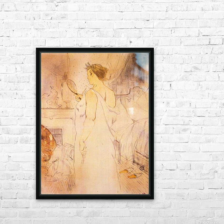 Woman with mirror by Toulouse-Lautrec HD Sublimation Metal print with Decorating Float Frame (BOX)