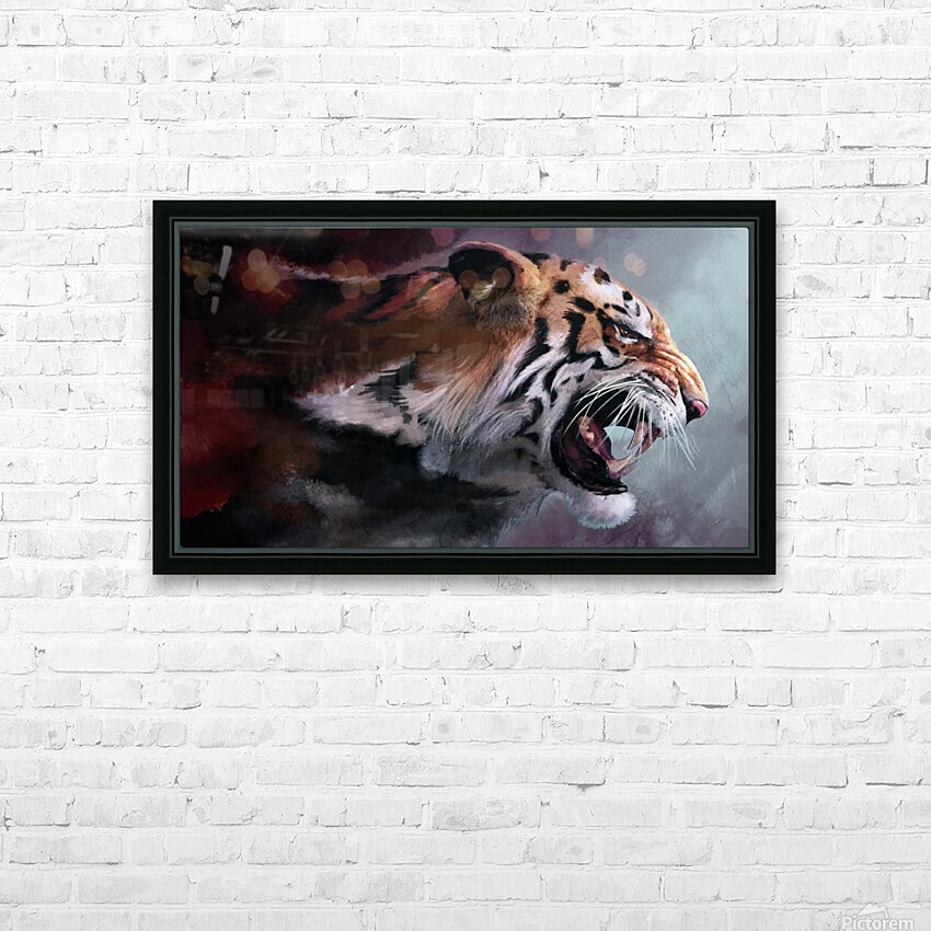 Lunging Tiger HD Sublimation Metal print with Decorating Float Frame (BOX)